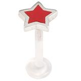 Bioflex Push-fit Labret with Enamel Star 1.0x6mm / Red Star