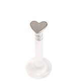 Bioflex Push-fit Labret with Titanium Heart 1.0mm 1.0mm, 7mm, Titanium Heart - Mirror Polish