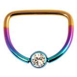 Titanium Jewelled D Ring 1.6 / 14 / Rainbow with Crystal Clear Gem
