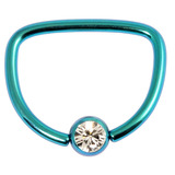 Titanium Jewelled D Ring 1.6 / 14 / Turquoise with Crystal Clear Gem