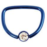 Titanium Jewelled D Ring 1.6 / 16 / Dark Blue with Crystal Clear Gem