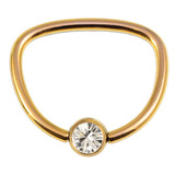 Titanium Jewelled D Ring 1.6 / 16 / Gold with Crystal Clear Gem