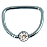 Titanium Jewelled D Ring 1.6 / 16 / Ice Blue with Crystal Clear Gem