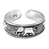 925 Sterling Silver Elephant Toe Ring Silver Elephants