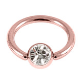 Rose Gold Steel Jewelled Ball Closure Ring (BCR) (Rose Gold colour PVD) 1.2mm, 10mm, 4mm / Crystal Clear