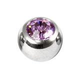Titanium Threaded Jewelled Balls 1.6x5mm Mirror Polish metal, Light Amethyst Gem