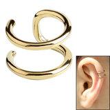 Surgical Steel Clip On Ear Cuff - Double Ring Zircon Steel