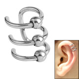 Surgical Steel Clip On Ear Cuff - Triple BCR Ring Steel
