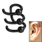 Surgical Steel Clip On Ear Cuff - Triple BCR Ring Black Steel