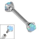 Titanium Internally Threaded Barbells 1.6mm - Claw Set Opal Double Opal, 1.6mm, 12mm, 4mm-4mm / Light Blue