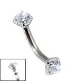 Titanium Internally Threaded Curved Bar 1.6mm - Claw Set Jewelled Double Jewel, 1.6mm, 10mm, 4mm-4mm