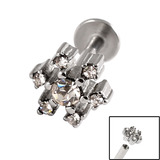 Titanium Internally Threaded Labrets 1.6mm - Jewelled Snowflake 1.6mm, 8mm