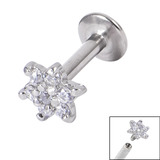 Titanium Internally Threaded Labrets 1.6mm - Jewelled Flower Crystal Clear, 1.6mm, 10mm