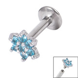 Titanium Internally Threaded Labrets 1.6mm - Jewelled Flower Light Blue, 1.6mm, 10mm