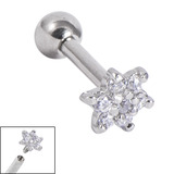 Titanium Internally Threaded Barbells 1.6mm - Jewelled Flower 1.6mm, 18mm, Crystal Clear