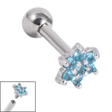 Titanium Internally Threaded Barbells 1.6mm - Jewelled Flower 1.6mm, 20mm, Light Blue