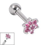 Titanium Internally Threaded Barbells 1.6mm - Jewelled Flower 1.6mm, 18mm, Pink