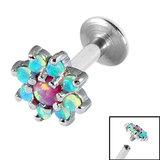 Titanium Internally Threaded Labrets 1.6mm - 8 point Opal Flower 1.6mm, 10mm / Pink and Light Blue