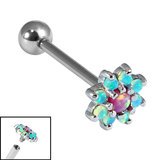 Titanium Internally Threaded Barbells 1.6mm - 8 point Opal Flower 1.6mm, 12mm / Light Blue - Pink