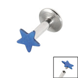Titanium Internally Threaded Labrets 1.6mm - Star 1.6mm, 6mm / Blue
