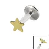 Titanium Internally Threaded Labrets 1.6mm - Star 1.6mm, 6mm / Gold