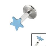 Titanium Internally Threaded Labrets 1.6mm - Star 1.6mm, 8mm / Ice Blue