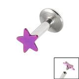 Titanium Internally Threaded Labrets 1.6mm - Star 1.6mm, 8mm / Purple