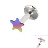 Titanium Internally Threaded Labrets 1.6mm - Star 1.6mm, 8mm / Rainbow