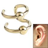 Surgical Steel Clip On Ear Cuff - Double BCR Ring Zircon Steel