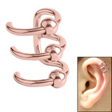 Surgical Steel Clip On Ear Cuff - Triple BCR Ring Rose Gold