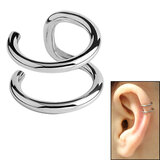 Surgical Steel Clip On Ear Cuff - Double Ring Steel
