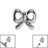 Steel Cute Bow for Internal Thread shafts in 1.6mm (1.2mm). Also fits Dermal Anchor Cute Bow