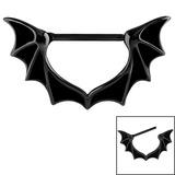 Black Steel Bat Wings Nipple Clicker Ring 1.6mm, 14mm