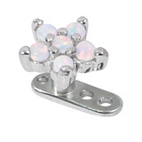 Titanium Dermal Anchor with 5 point Steel Opal Flower Top 2.5mm, Steel 5-Point Opal Flower in White