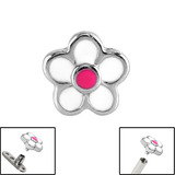 Steel Daisy Flower for Internal Thread shafts in 1.6mm (1.2mm). Also fits Dermal Anchor Daisy Flower