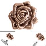 Rose Gold Steel Rose Flower for Internal Thread shafts in 1.6mm (1.2mm). Also fits Dermal Anchor Rose Gold Steel Rose