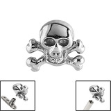 Steel Skull and Crossbones for Internal Thread shafts in 1.6mm (1.2mm). Also fits Dermal Anchor Skull and Crossbones