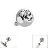 Titanium Jewelled Ball for Internal Thread shafts in 1.6mm (1.2mm). Also fits Dermal Anchor 4mm, Crystal Clear