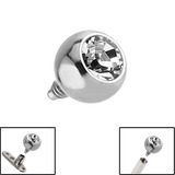 Titanium Jewelled Ball for Internal Thread shafts in 1.6mm (1.2mm). Also fits Dermal Anchor 5mm, Crystal Clear