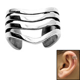 Surgical Steel Clip On Ear Cuff - 4 Band 4 Stripe