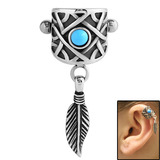 Surgical Steel Ear Shield - Feather Charm 1.2mm, Feather Charm