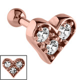 Rose Gold Steel Multi-Jewelled Heart Tragus Bar 1.2mm, 6mm, Crystal Clear
