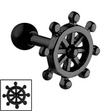 Black Steel Nautical Ships Wheel Tragus Bar 1.2mm, 6mm