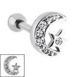 Steel Jewelled Star And Moon Tragus Bar 1.2mm, 6mm