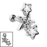 Steel 3 Jewelled Stars Tragus Bar 1.2mm, 6mm