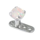 Titanium Dermal Anchor with Steel Claw Set Opal 2.5mm, Steel Claw Set White Opal