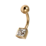 Belly Bars - Many styles - 9ct Gold with Jewels 9ct06, 8mm, Crystal Clear