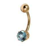 Belly Bars - Many styles - 9ct Gold with Jewels 9ct07, 10mm, Light Blue