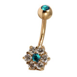 Belly Bars - Many styles - 9ct Gold with Jewels 9ct08A, 10mm, Turquoise