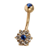 Belly Bars - Many styles - 9ct Gold with Jewels 9ct08B, 10mm, Sapphire Blue